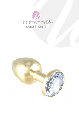 Buttplug gold with Transparent Crystal